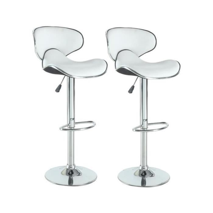 york lot de 2 tabourets de bar blanc achat vente tabouret de bar m tal pu polyur thane. Black Bedroom Furniture Sets. Home Design Ideas