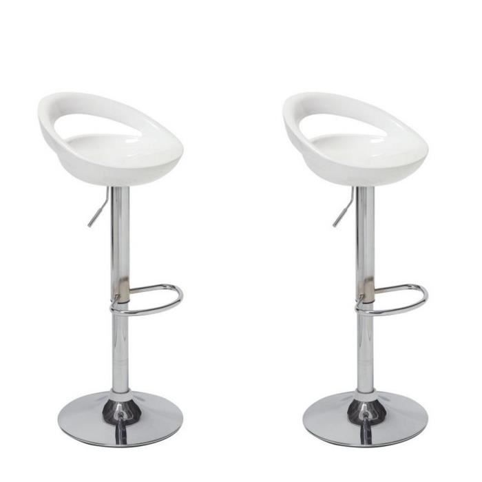 moon lot de 2 tabourets de bar r glables blanc achat. Black Bedroom Furniture Sets. Home Design Ideas