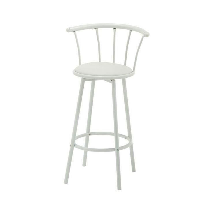 bistrot tabouret de bar pivotant bistrot en simili blanc. Black Bedroom Furniture Sets. Home Design Ideas