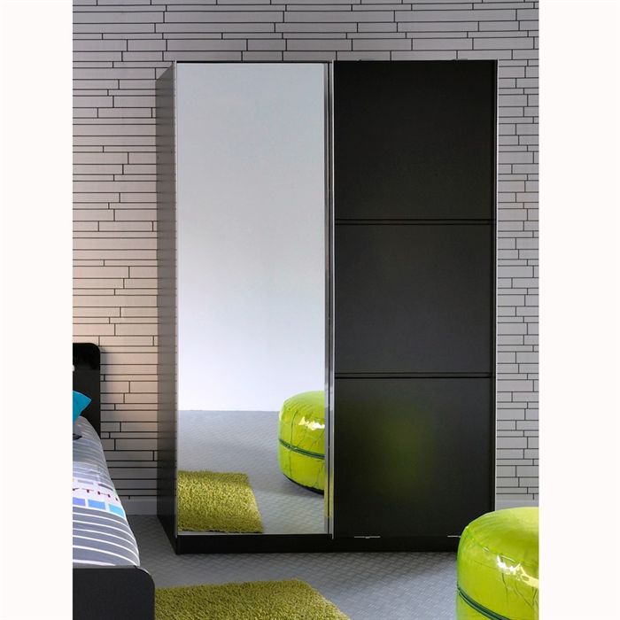 star armoire 2 portes noire achat vente armoire de. Black Bedroom Furniture Sets. Home Design Ideas