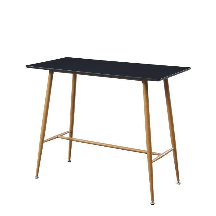 TABLE À MANGER SEULE ALINA Table bar scandinave - Noir laqué satiné - L