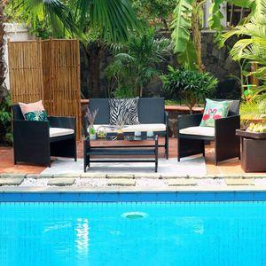 Ensemble table et chaise de jardin Salon de jardin en résine tressée 4 personnes HILP