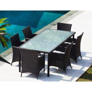 Ensemble table et chaise de jardin Ensemble repas de jardin - 6 places - En résine tr