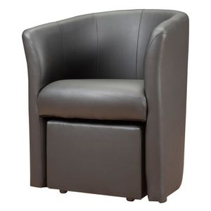 baya fauteuil pouf en simili cabriolet gris achat vente fauteuil pvc polyur thane. Black Bedroom Furniture Sets. Home Design Ideas