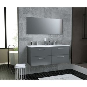 SALLE DE BAIN COMPLETE GLOSSY  Meuble de Salle de bain double vasque L 12