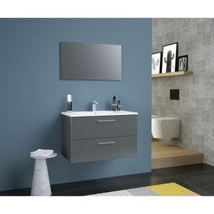 SALLE DE BAIN COMPLETE GLOSSY Meuble de Salle de bain simple vasque L 80c