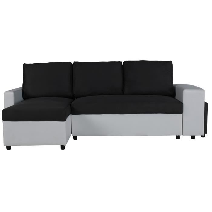 lola canap d 39 angle r versible convertible 4 places pouf tissu gris et simili blanc. Black Bedroom Furniture Sets. Home Design Ideas