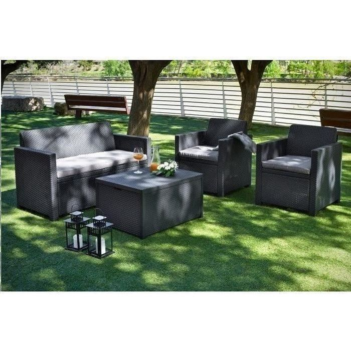 allibert salon de jardin 4 places merano coffre r sine aspect rotin tress gris achat. Black Bedroom Furniture Sets. Home Design Ideas