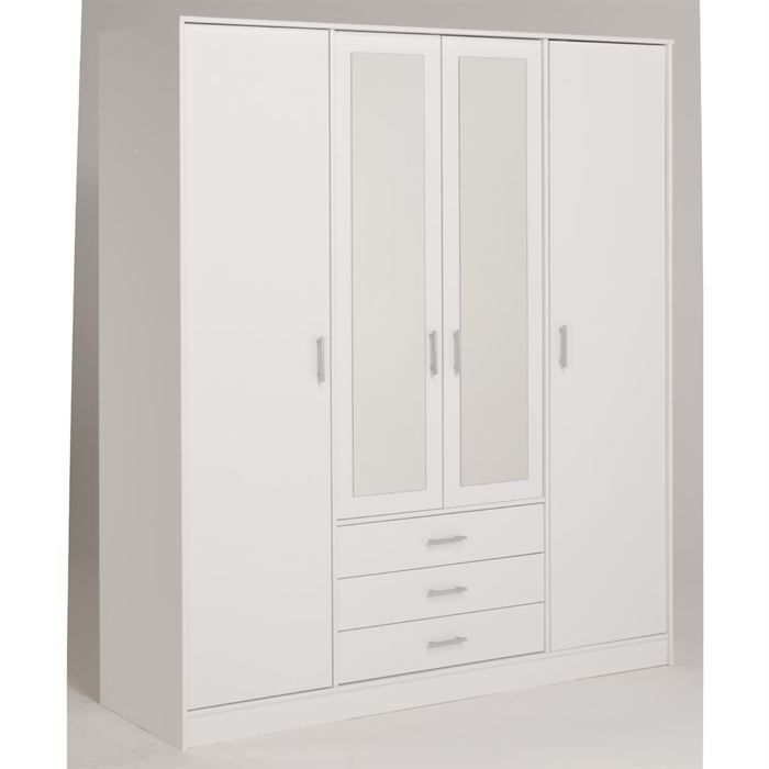 essentielle armoire blanche 4 portes 4 tag res achat. Black Bedroom Furniture Sets. Home Design Ideas