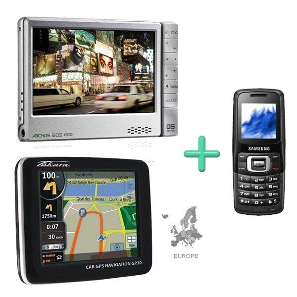 archos 605 wifi 60 go takara gps nomade gp30 eur pack gps auto avis et prix pas cher. Black Bedroom Furniture Sets. Home Design Ideas
