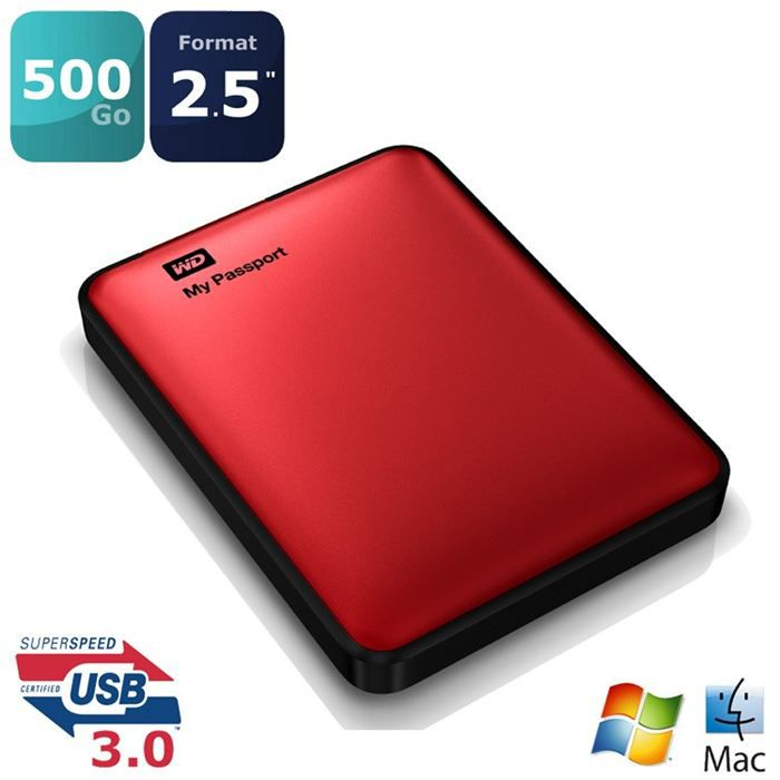 wd my passport rouge 500go 2 5 usb3 0 prix pas cher cdiscount. Black Bedroom Furniture Sets. Home Design Ideas