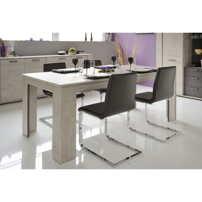 Loft table manger l190 cm d cor gris achat vente for Table de salle a manger originale