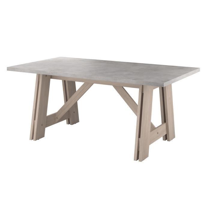 MEMPHIS Table à manger de 6 à 8 personnes décor chêne ...