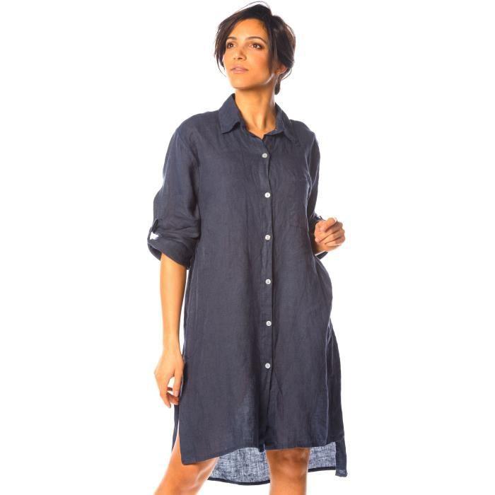 Chemise manches longues femme bleu marine | La Halle