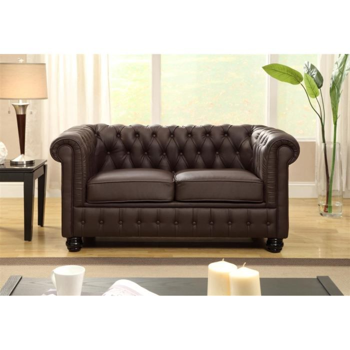 chesterfield canap en cuir et simili 2 places 152x88x75 cm marron achat vente canap. Black Bedroom Furniture Sets. Home Design Ideas