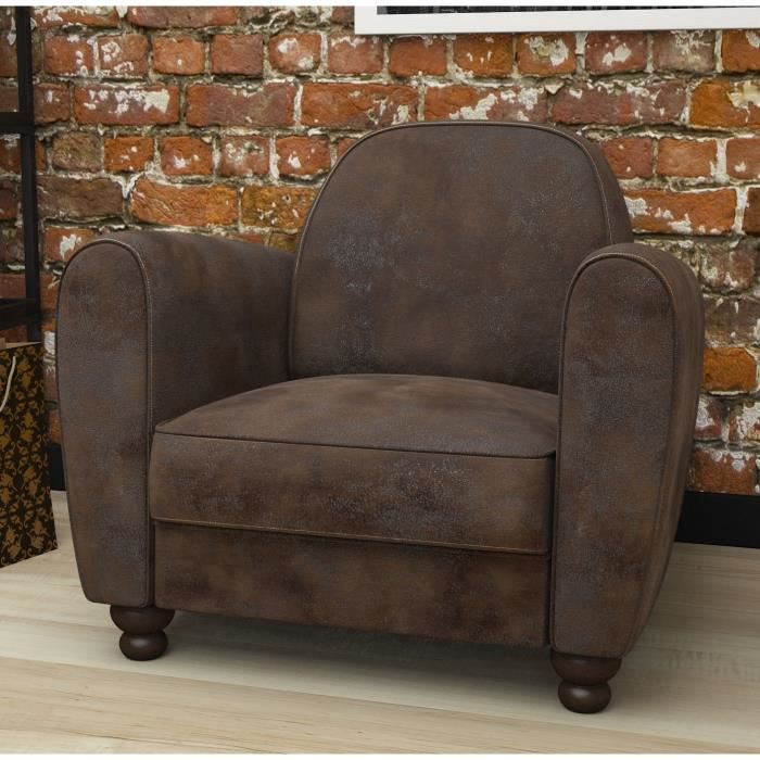 clamm fauteuil club marron achat vente fauteuil cdiscount. Black Bedroom Furniture Sets. Home Design Ideas
