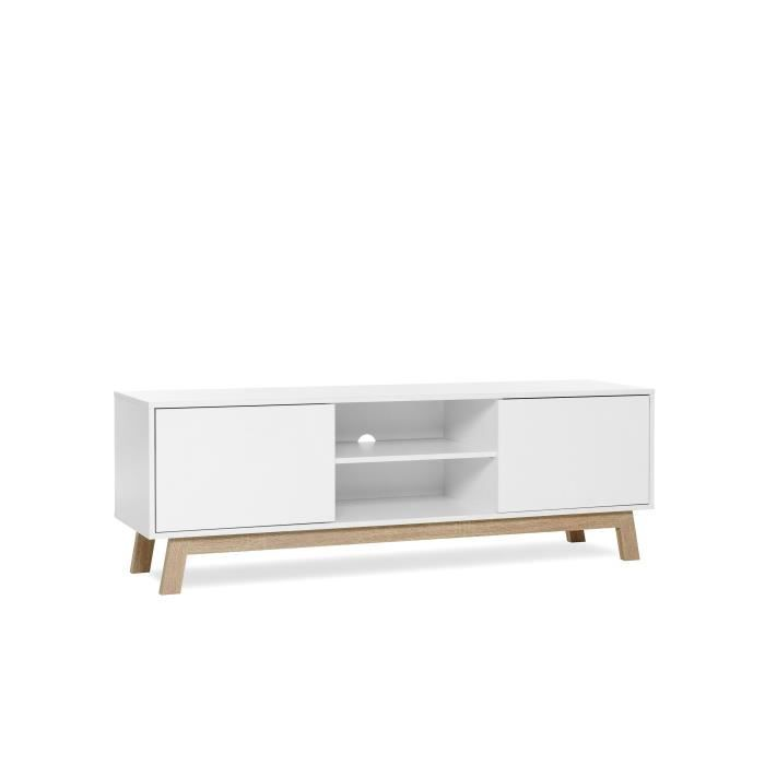 apart meuble tv style scandinave blanc d cor ch ne sonoma l 150cm achat vente meuble. Black Bedroom Furniture Sets. Home Design Ideas