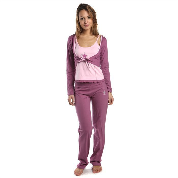 melissa brown pyjama 3 pi ces femme achat vente chemise de nuit cdiscount. Black Bedroom Furniture Sets. Home Design Ideas