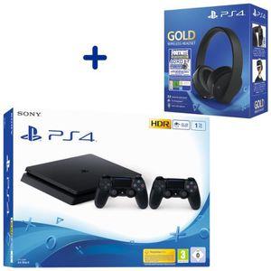 CONSOLE PS4 Console PS4 Slim 1To Noire + 2ème Manette DualShoc