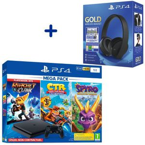 CONSOLE PS4 Console PS4 Slim 1To Noire + Ratchet & Clank + Cra