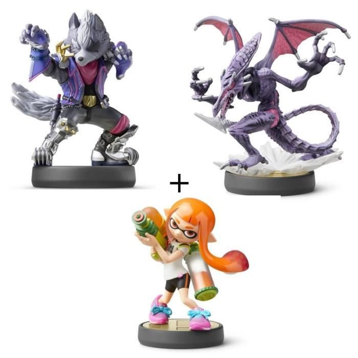 CONSOLE NINTENDO SWITCH Pack 3 amiibos Super Smash Bros : Fille Inkling +