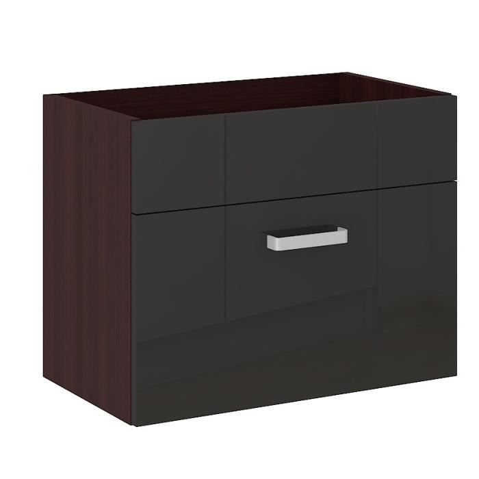 cosmo meuble sous vasque 1tiroir l60cm noir weng achat. Black Bedroom Furniture Sets. Home Design Ideas