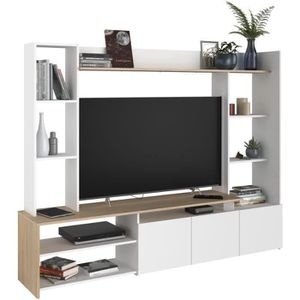 MEUBLE TV OREGON Meuble TV décor Chêne et blanc - L 197cm