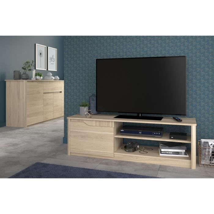 Betty banc tv 136 cm d cor ch ne dakota achat vente for Banc tv chene