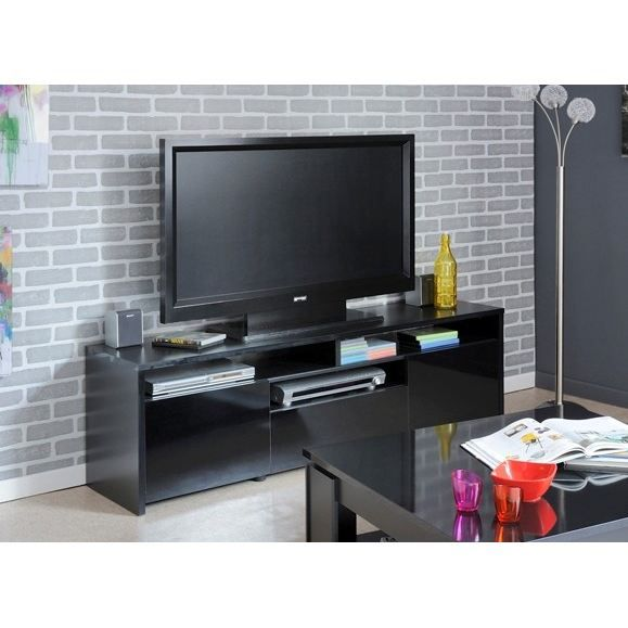 meuble tv 150 cm noir brillant strass salon salle manger bon prix moncornerdeco. Black Bedroom Furniture Sets. Home Design Ideas