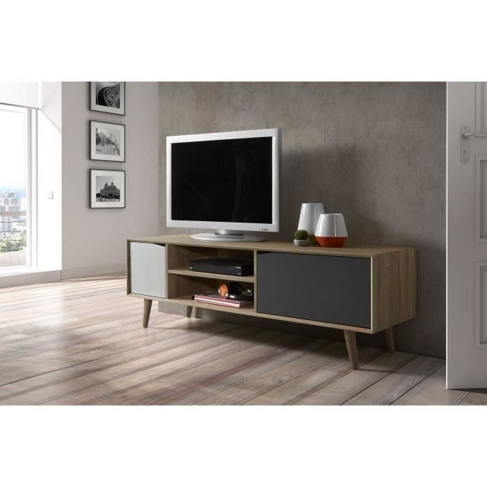 svenska meuble tv scandinave pieds en bois massif gris. Black Bedroom Furniture Sets. Home Design Ideas