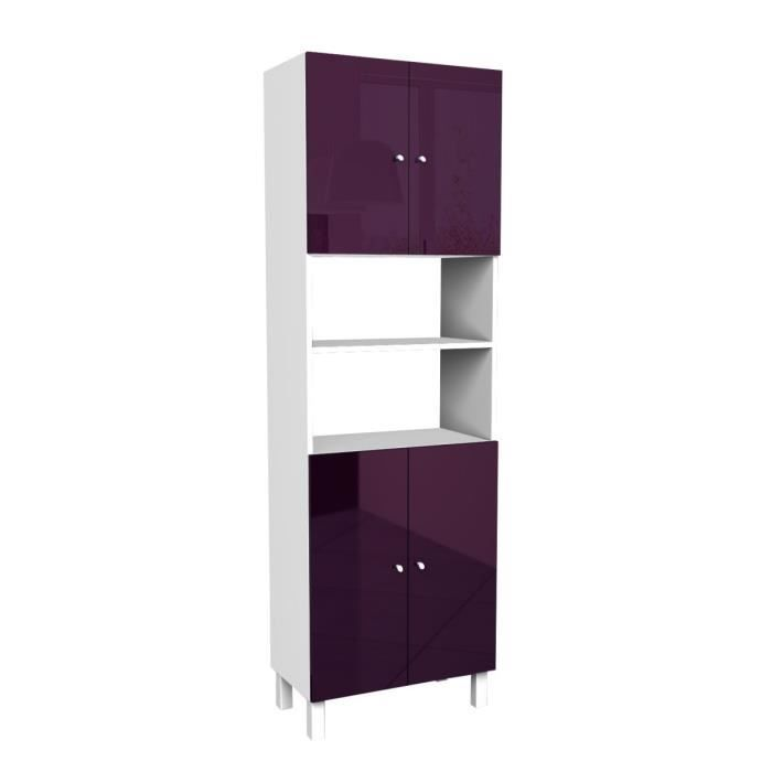 corail armoire de salle de bain 60 cm aubergine haute brillance achat vente colonne. Black Bedroom Furniture Sets. Home Design Ideas