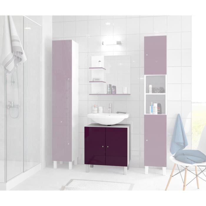 corail meuble sous lavabo l 60 cm aubergine laqu achat vente meuble vasque plan meuble. Black Bedroom Furniture Sets. Home Design Ideas