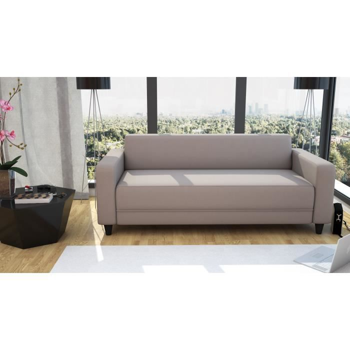 firr canap droit 3 places tissu taupe achat vente canap sofa divan tissu polyester. Black Bedroom Furniture Sets. Home Design Ideas