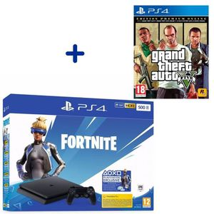 CONSOLE PS4 PS4 Slim 500 Go Noire + Grand Theft Auto V Edition