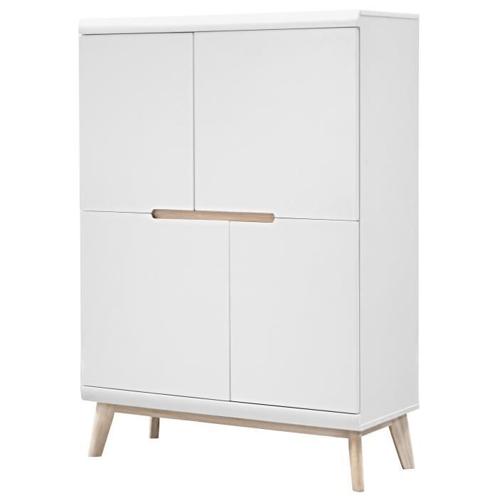 jazz buffet haut scandinave laqu blanc mat pieds en fr ne naturel laqu blanchi l 102 cm. Black Bedroom Furniture Sets. Home Design Ideas
