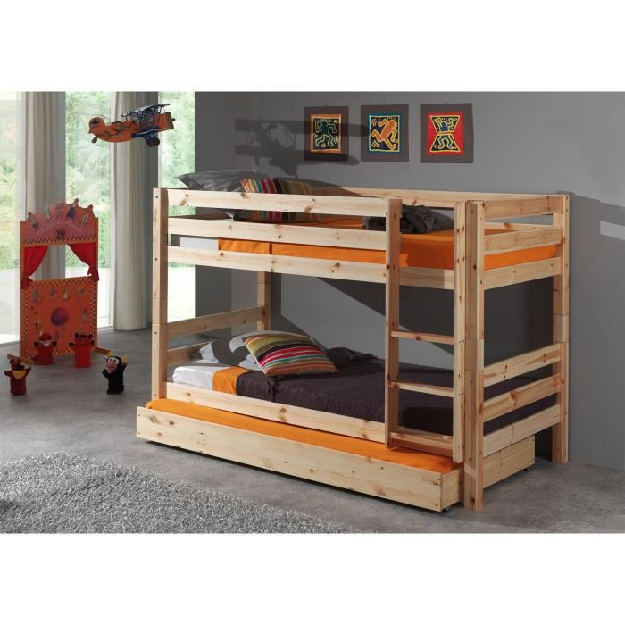 pino lit enfant superpos lit gigogne bois nature achat vente lits superpos s pino lit. Black Bedroom Furniture Sets. Home Design Ideas