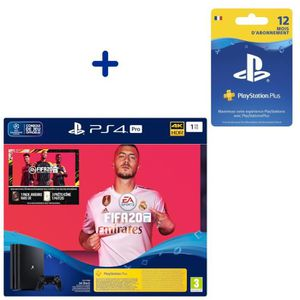 CONSOLE PS4 Pack Console PS4 Pro 1To Noire + FIFA 20 + PS Plus