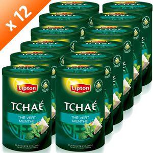 THÉ LIPTON Tchae Thé vert Menthe 25 Sachets (x12)