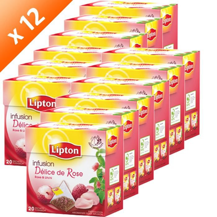 INFUSION LIPTON Infusion Rose Litchi 20 sachets (x12)
