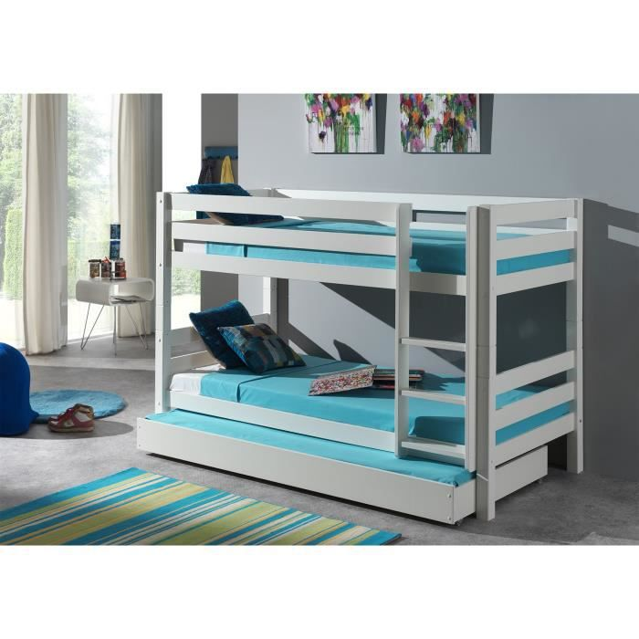 pino lit enfant superpos 90x200 cm lit gigogne blanc. Black Bedroom Furniture Sets. Home Design Ideas