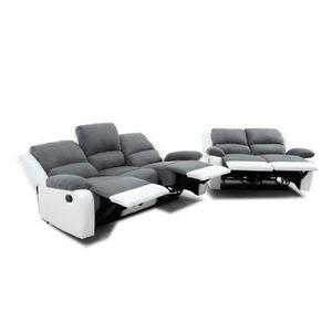 CANAPÉ - SOFA - DIVAN RELAX Ensemble de 2 canapés de relaxation droit 3