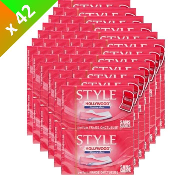HOLLYWOOD Style Fraise 2x14 Gum 54g (x42) - Achat / Vente chewing-gum ...