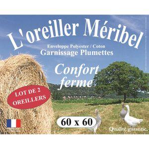 OREILLER DODO Lot de 2 Oreillers MERIBEL Plumettes 60x60cm
