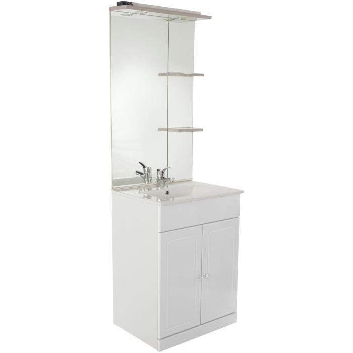 Tolede Salle De Bain Complete Simple Vasque L 61 Cm Blanc Mat