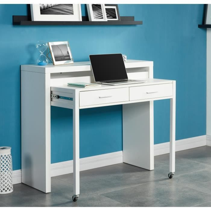 urban bureau extensible contemporain blanc l 110 cm. Black Bedroom Furniture Sets. Home Design Ideas