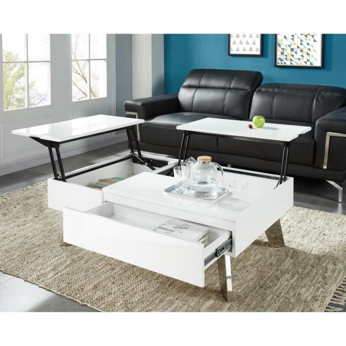 Zanzibar Table Basse Transformable Style Contemporain Laqu Blanc Brillant Avec Pieds Chrom S