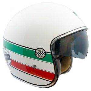 CASQUE MOTO SCOOTER CGM Casque Jet 103I Italia Racing Blanc