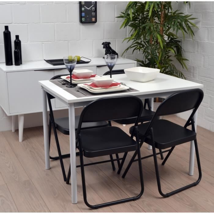 america table de cuisine blanche 110x70cm achat vente table de cuisine america table blanche. Black Bedroom Furniture Sets. Home Design Ideas