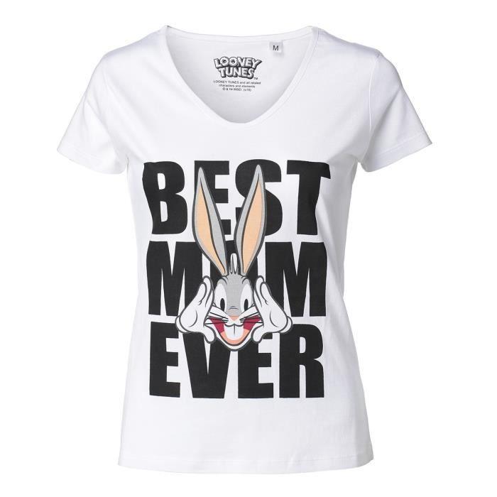 T-SHIRT BUG BUNNY Tee-Shirt Maman manches courtes blanc Fe