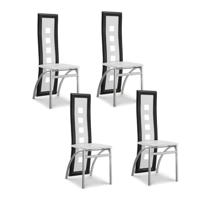 eiffel lot de 4 chaises de salle manger noires et blanches simili et aluminium design. Black Bedroom Furniture Sets. Home Design Ideas